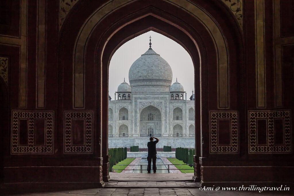 The first glimpse of the Taj Mahal