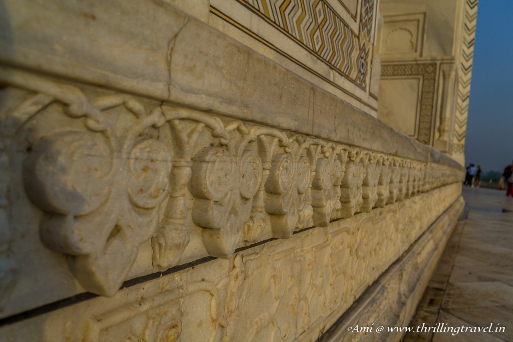 Marble engravings along the wall of Taj