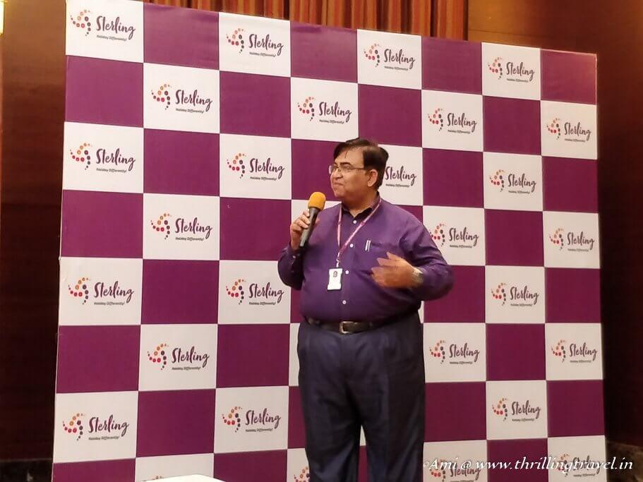 Peshwa Acharya of Sterling Holidays sharing the new Brand identity