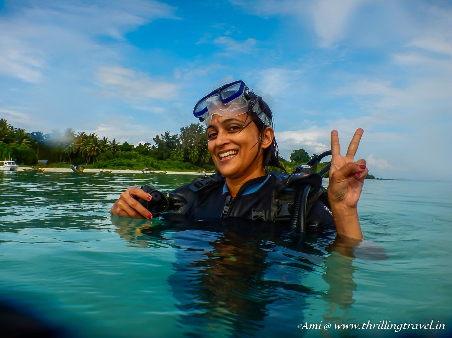 Shallow Water training for the first scuba dive at Havelock Islands, Andamans
