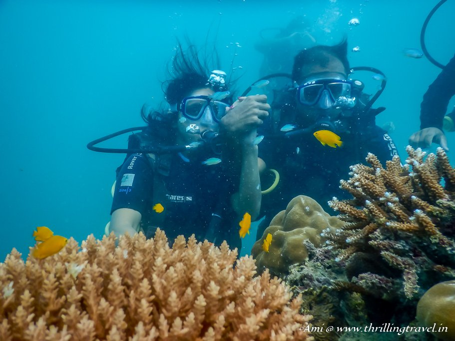 Posing for a picture with my hubby on my first scuba dive at Havelock Island