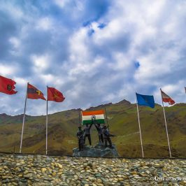 A Sculpture showcasing the victory of Operation Vijay at Kargil War Memorial