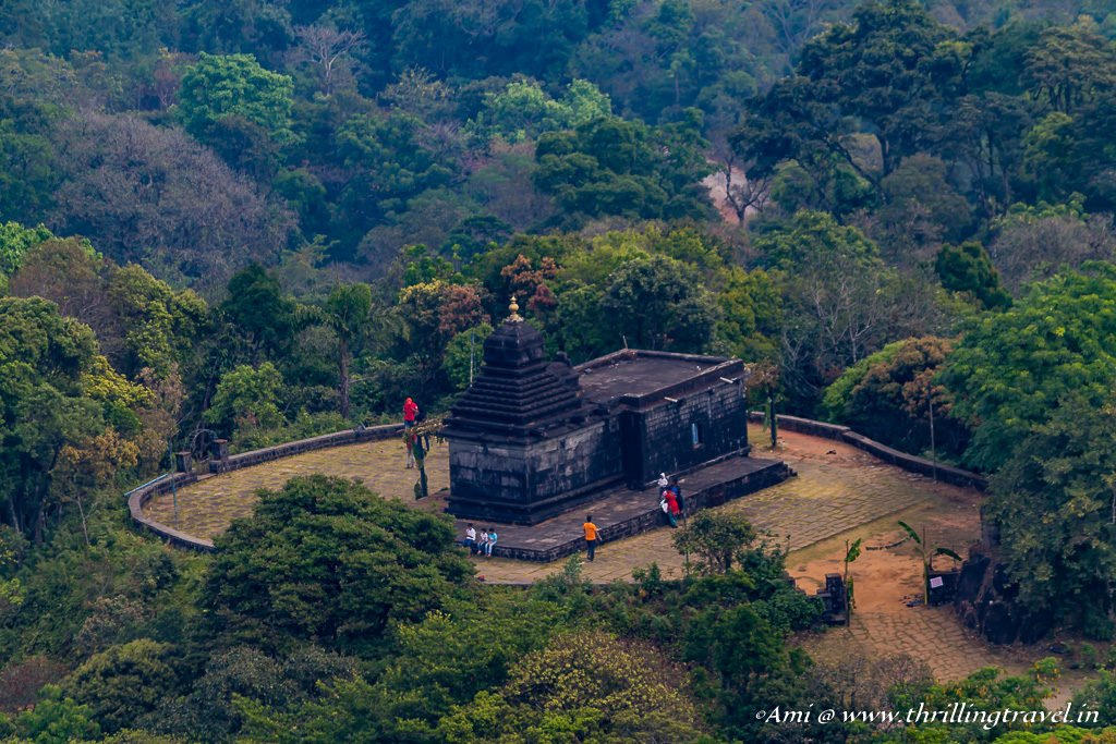 Bettada Byraveshwara temple in Sakleshpur, as seen from Pandarva Gudda hill