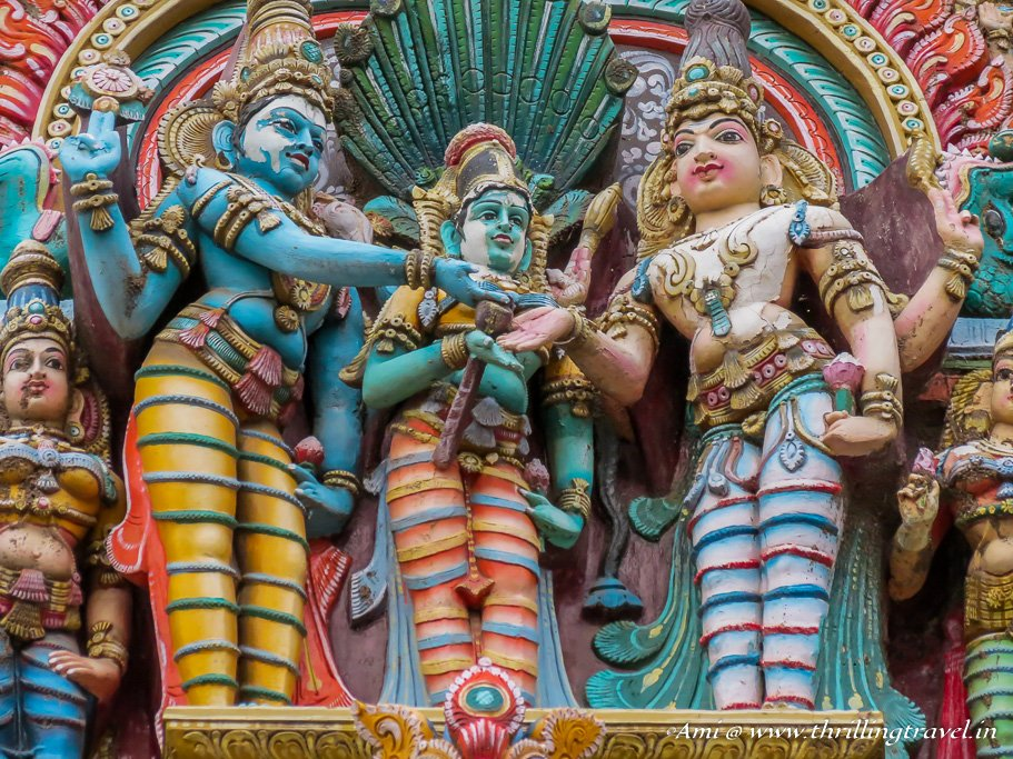 Close up of the Marriage scene on the Gopuram of Meenakshi Temple