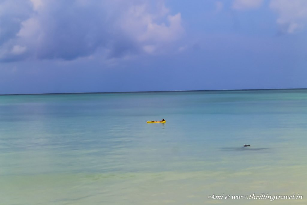 Floating on Vijaynagar beach, Havelock Island