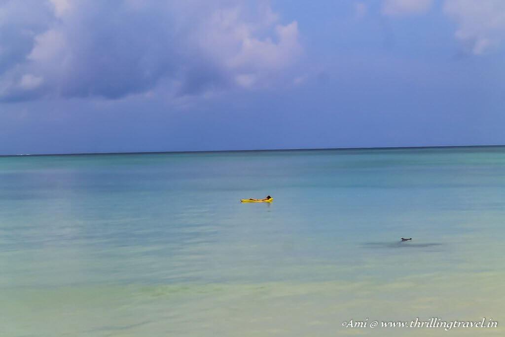 Floating on Vijaynagar beach, Havelock Island