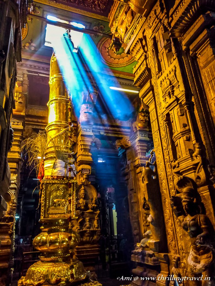 Lights through the roof of Meenakshi temple