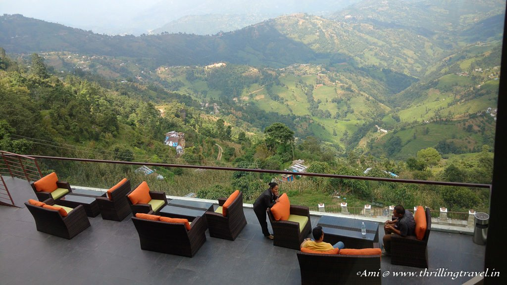 Lounge area of Mystic Mountain Hotel in Nagarkot