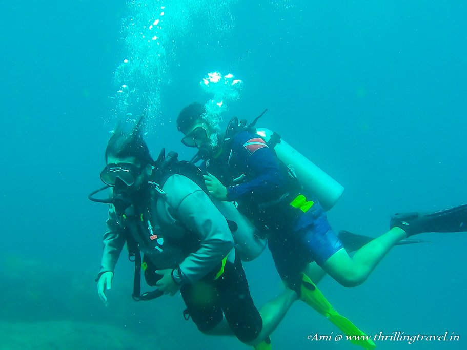 Simulating situations for the PADI Scuba Diving Test