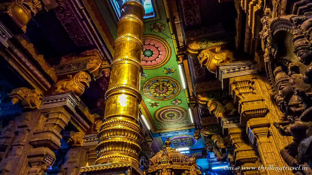 The Golden pole passing through the ceiling of Meenakshi temple
