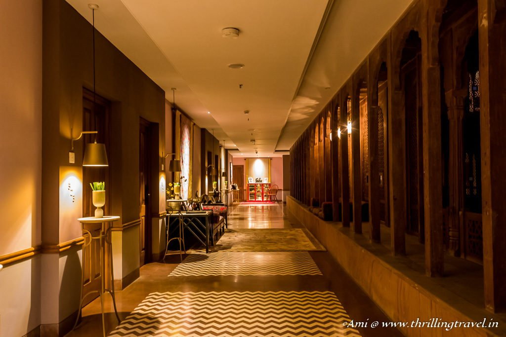 The warmly lit contemporary corridors of Narendra Bhawan, Bikaner