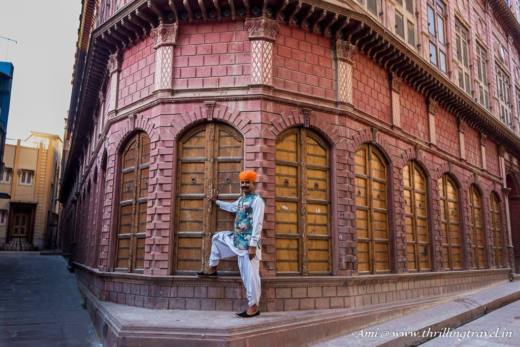Our Guide cum Driver from Narendra Bhawan - Pushpendra Singh posing at Rampuria Haveli