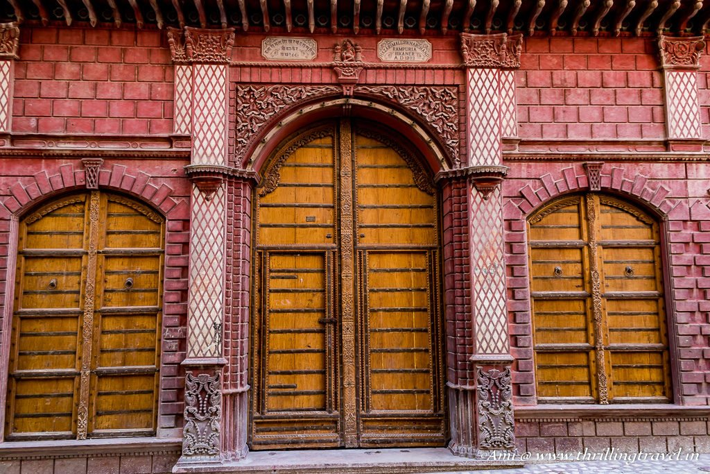 Doors of Rampuria Havelis with their carved frame & name plate