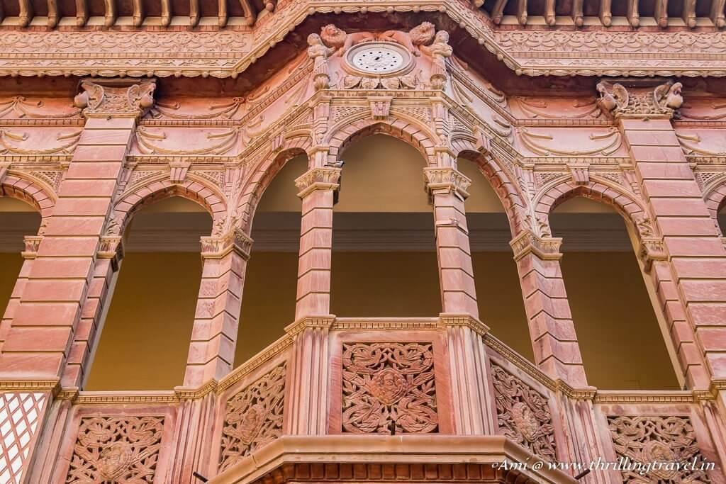 The clock facade within Bhawar Niwas