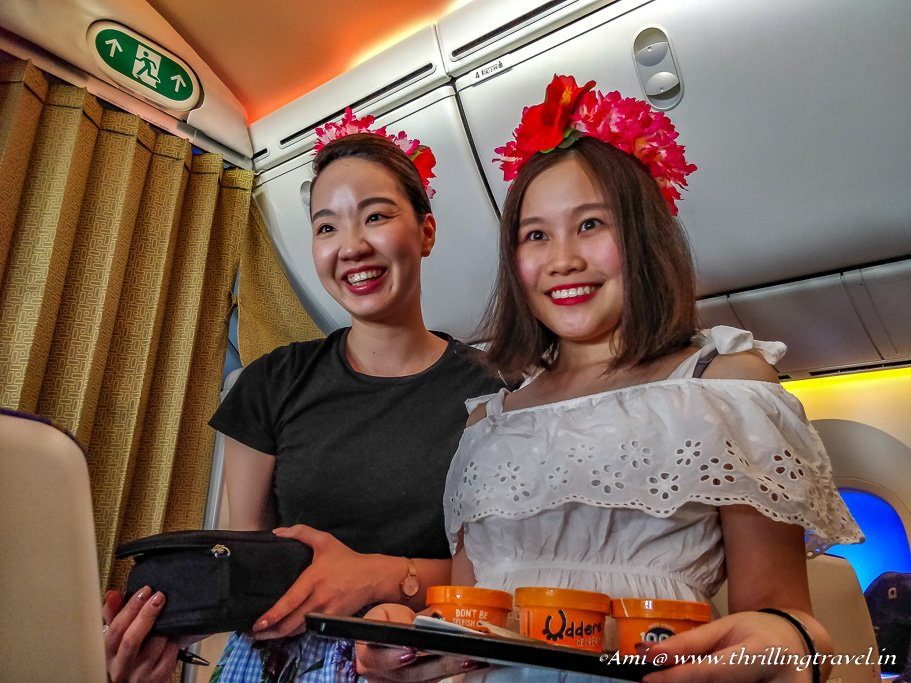 Air Attendants celebrating no uniform day on Flyscoot