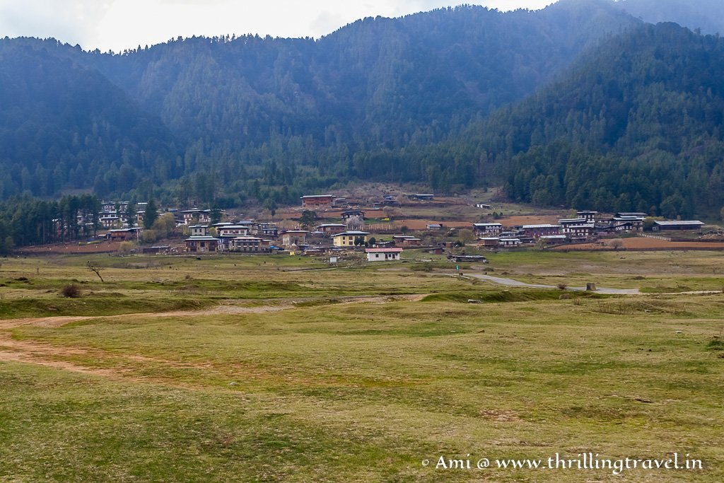The Evergreen Phobjikha Valley with the Black Mountains in the backdrop