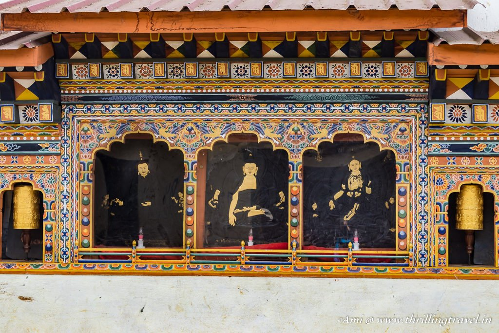 Buddhas depicted on Gangtey Monastery, Phobjikha Valley. Guru Padmasambhava in the center