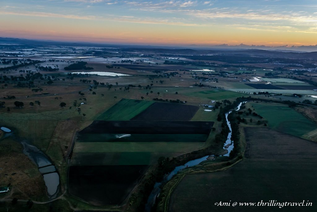 At the crack of Dawn - The Gold Coast Hinterland from the Hot Air Balloon