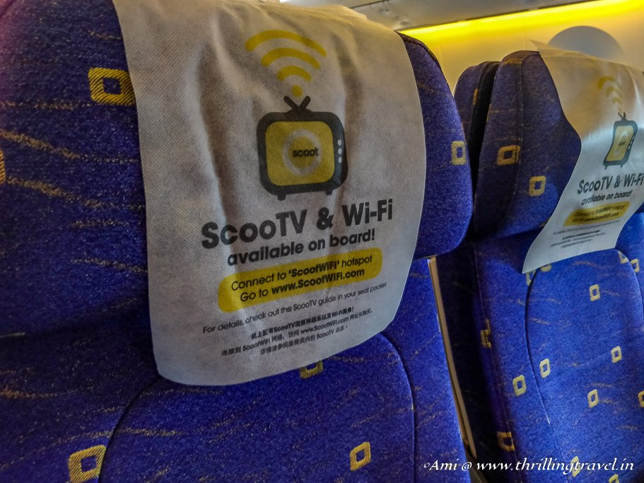 ScootTV and WiFi available on purchase on Flyscoot