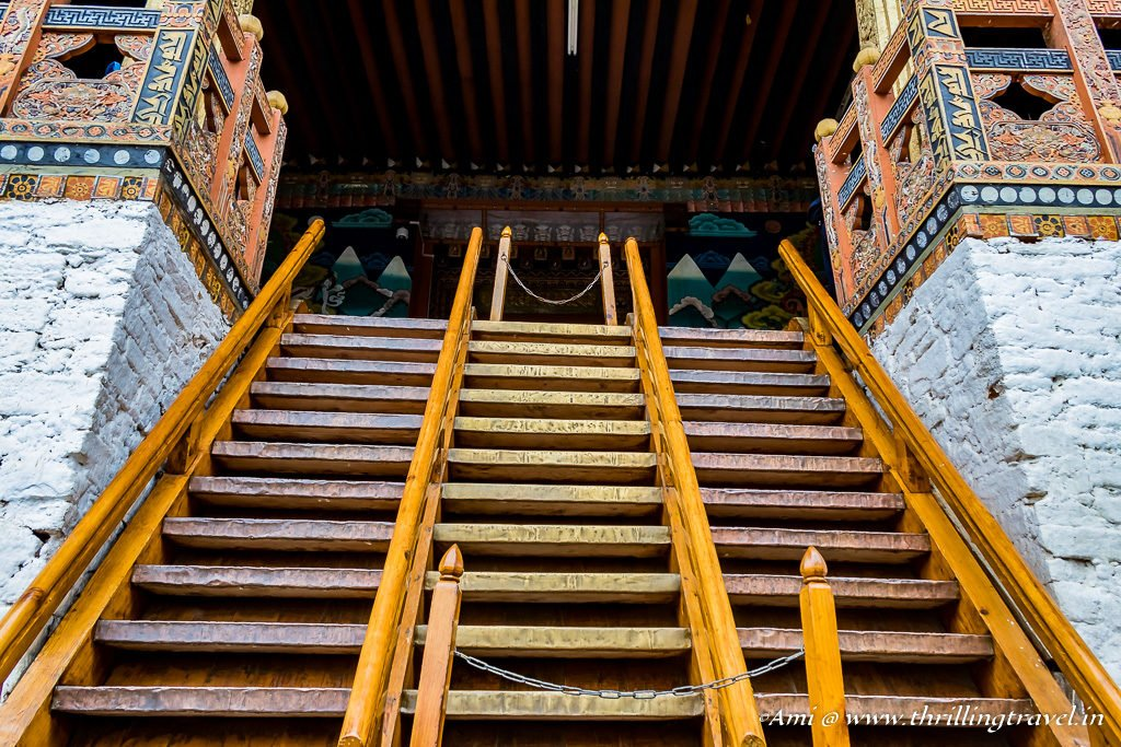The makeshift stairs to Punakha Dzong