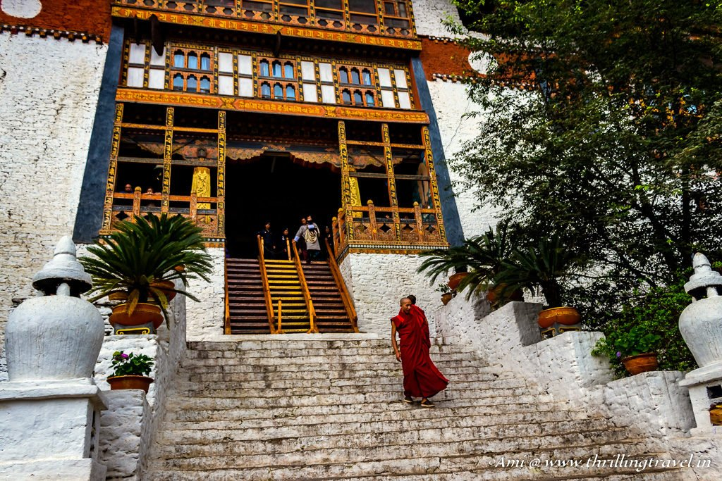 Monks walking down Punakha Dzong