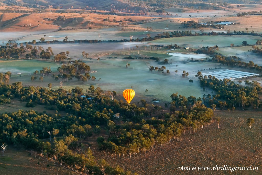 Over the Vineyards of the Queensland Hinterland on a Gold Coast Hot Air Balloon
