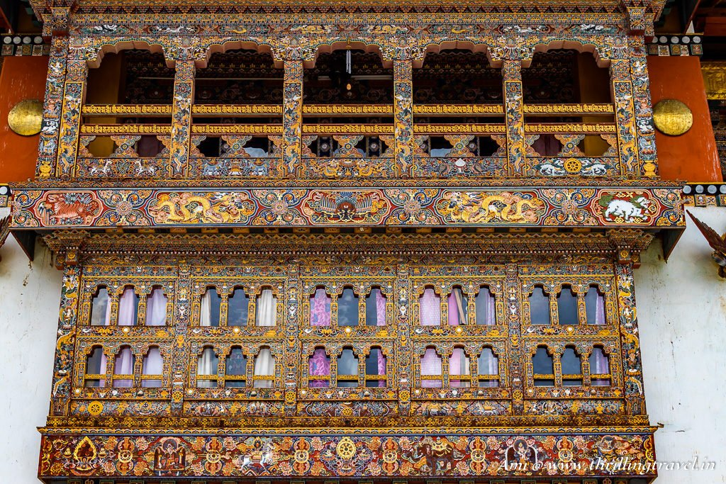 The elaborate windows of the prayer hall of Gangtey Monastery, Phobjikha Valley