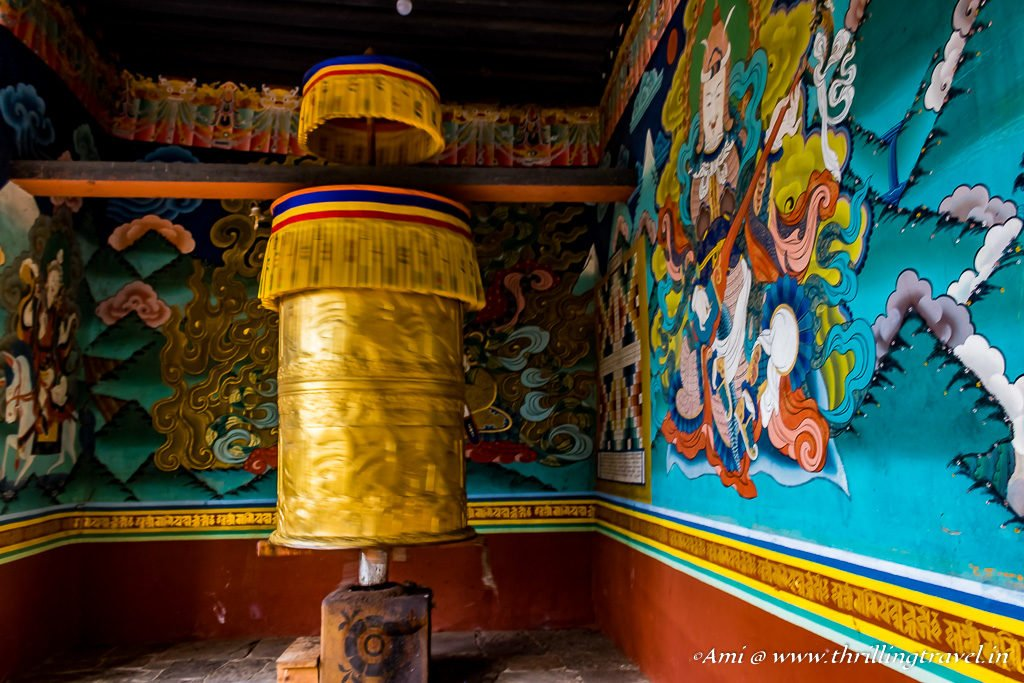 Prayer Wheel and Paintings at the entrance of Punakha Dzong