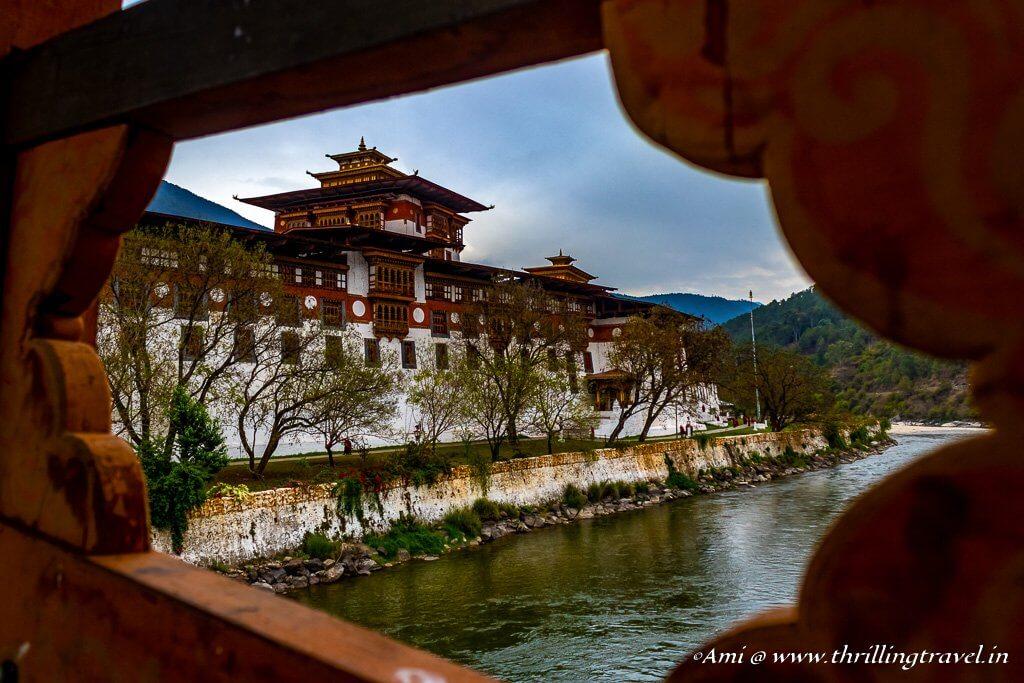 Punakha Dzong seen from the retractable bridge
