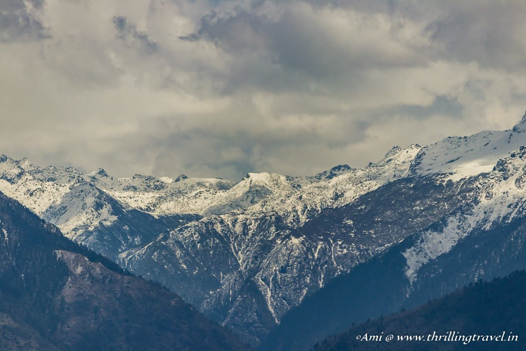 Close up of the snow-capped mountains enroute to Phobjikha Valley