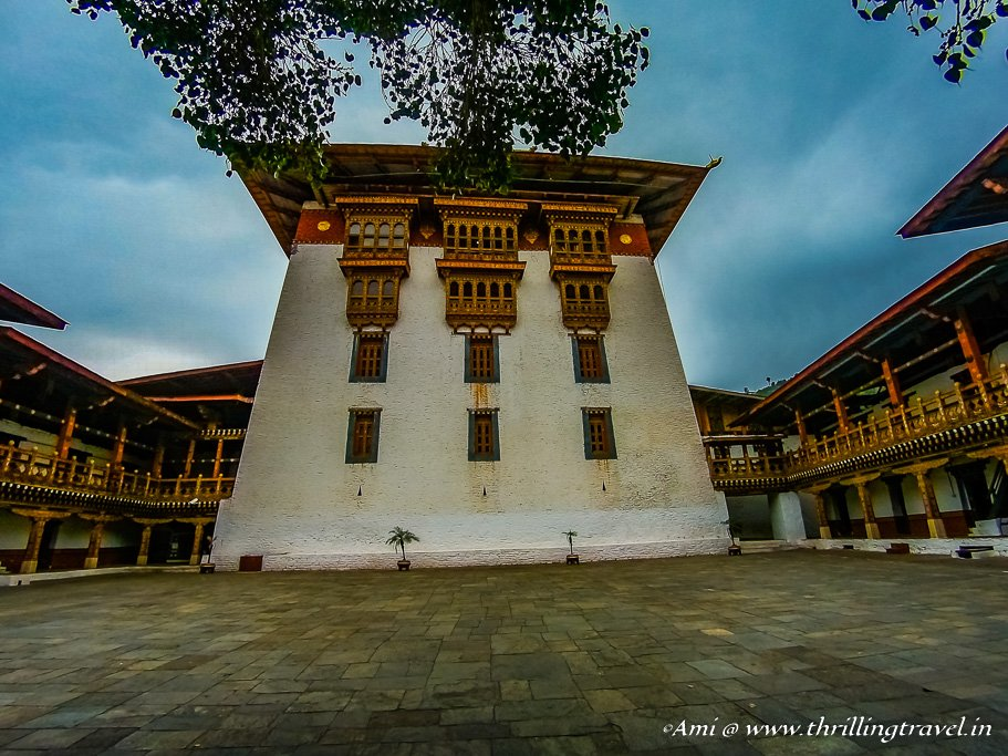 The Watchtower from the first courtyard of Punakha Dzong