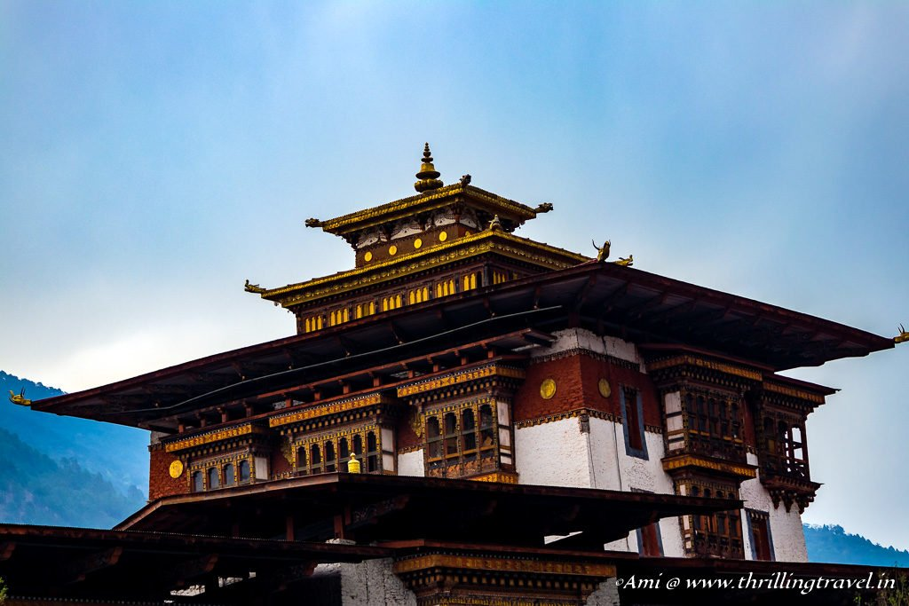 The 6 storied Utse or Watch Tower of Punakha Dzong as seen from outside