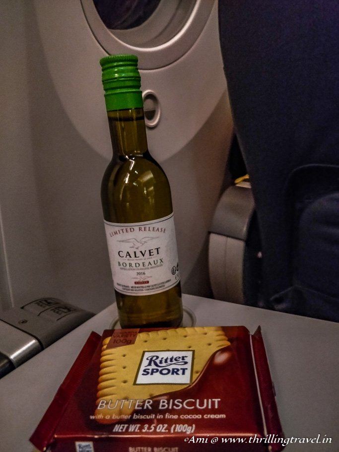 Some Wine and Chocolate with the meals in the Business Class, Flyscoot