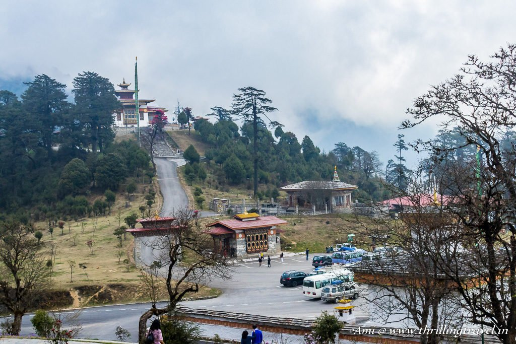 Druk Wangyal Temple with its guest house at Dochula Pass