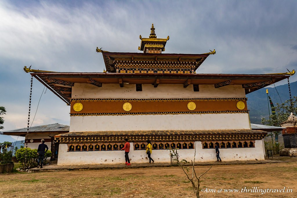 The prayer wheels around the Fertility Temple, Bhutan