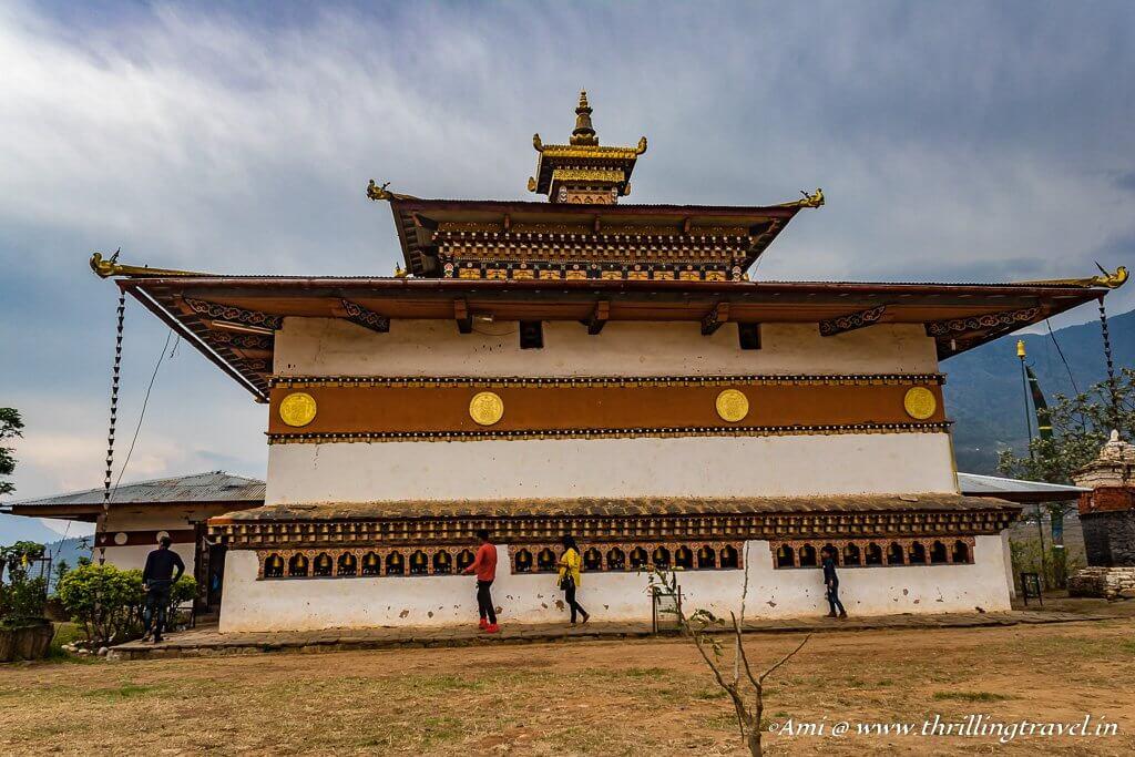 The prayer wheels around the Fertility Temple, Bhutan