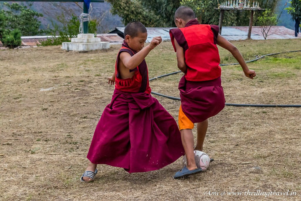 Monk Kids playing football at the Fertility Temple