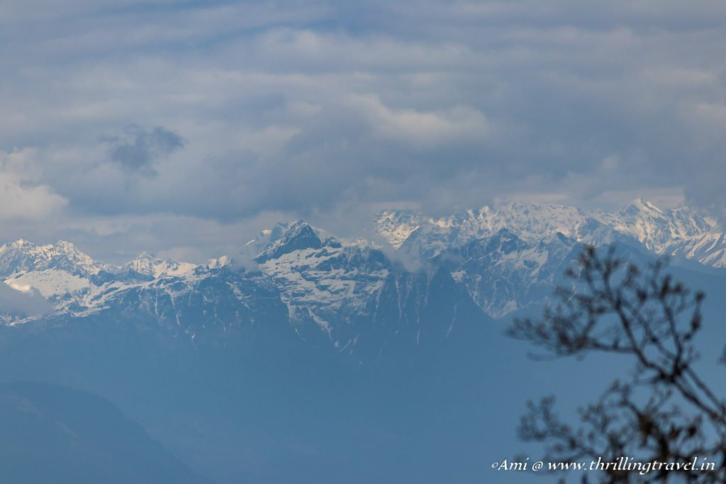 Snow peaks of Himalayas as seen from Dochula Pass in Bhutan