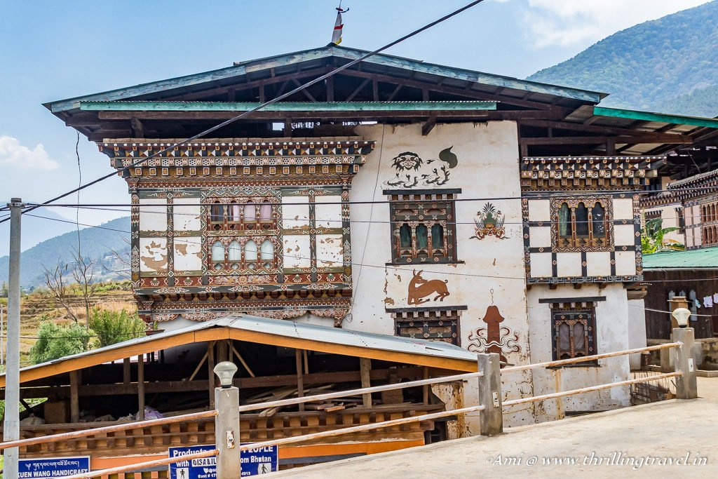 Divine symbols of the Fertility temples painted on the walls of Sopsokha village, Bhutan
