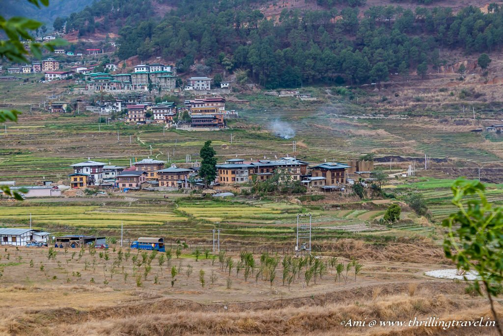 Sopsokha village and Lobesa Village as seen from the Fertility temple, Bhutan