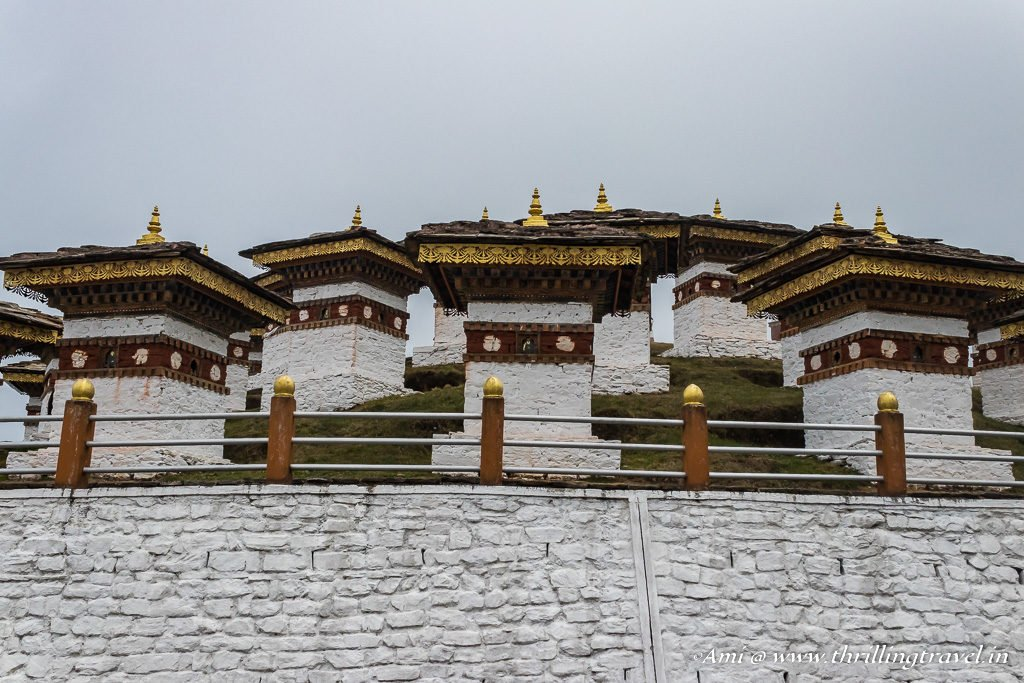 The Druk Wangyal Khang Zhang Chortens at Dochula pass in Bhutan