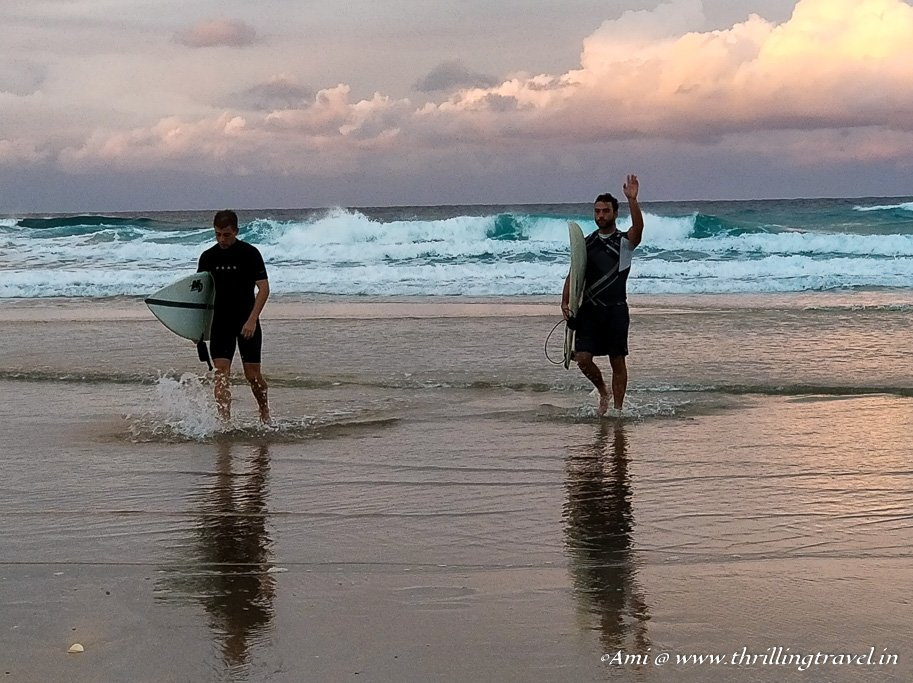 Surfers' on the beaches of Gold Coast