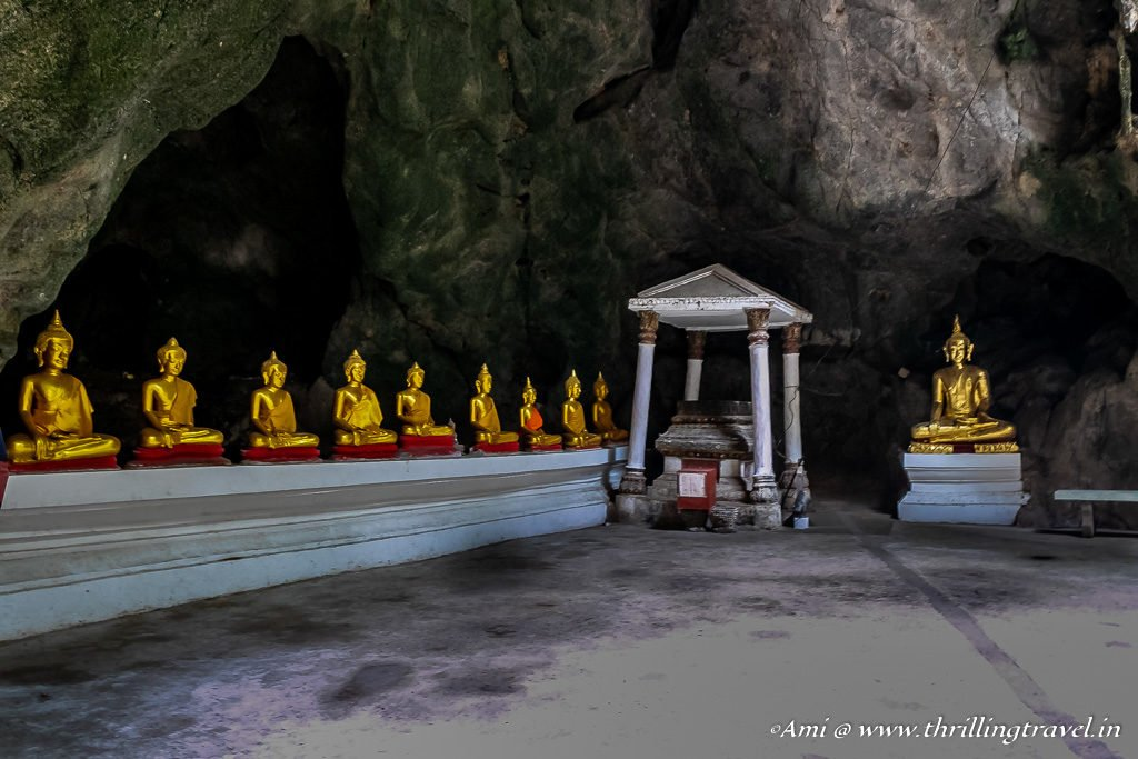 Buddhas at the entrance of the Khao Luang Caves