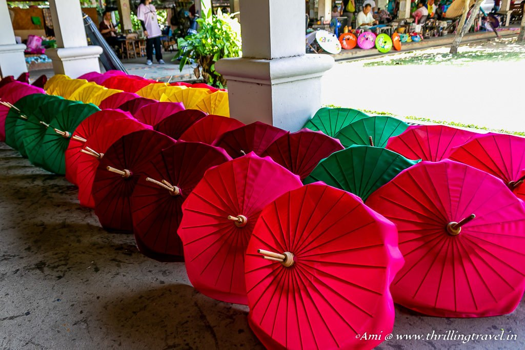 Chiang Mai umbrellas being dried
