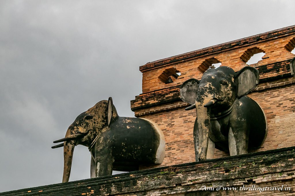 Protruding Elephants from the Wat Chedi Luang Pagoda