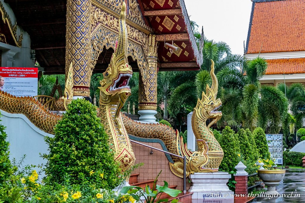 Jeweled Serpent staircase of Wiharn Luang at Phra Singh Temple