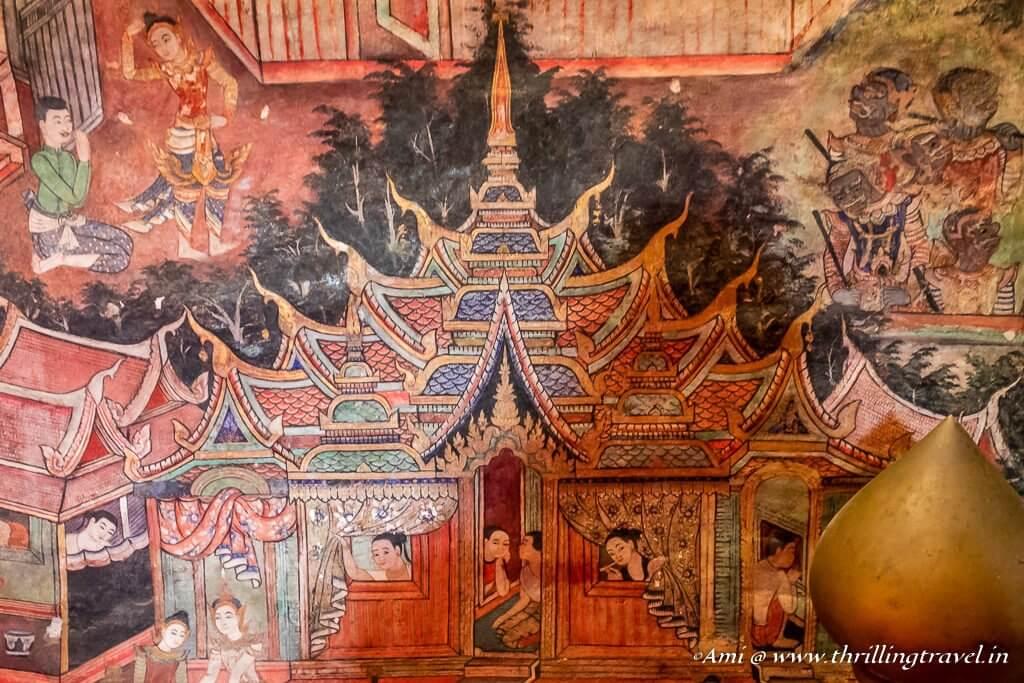 Murals inside Wiharn Lai Kham, Wat Phra Singh