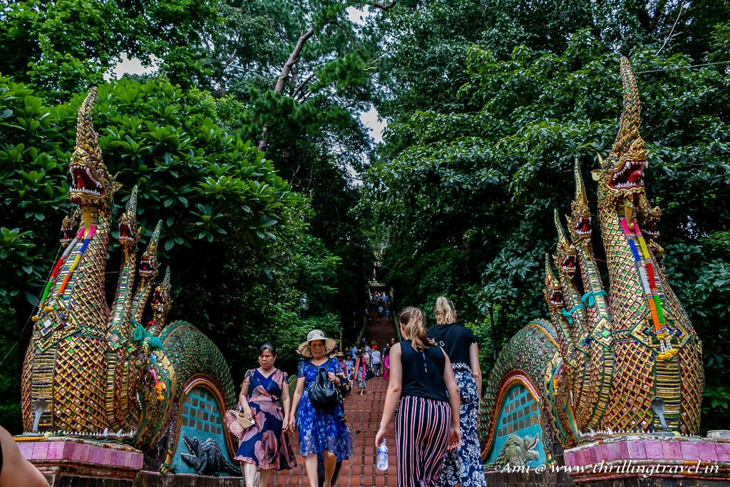 The Naga staircase to Wat Phra That Doi Suthep in Chiang Mai, Thailand
