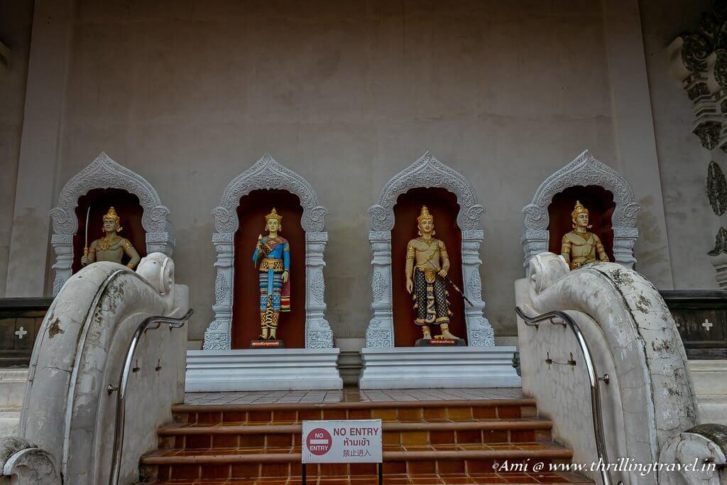 Statues of Thai Kings behind the Viharn