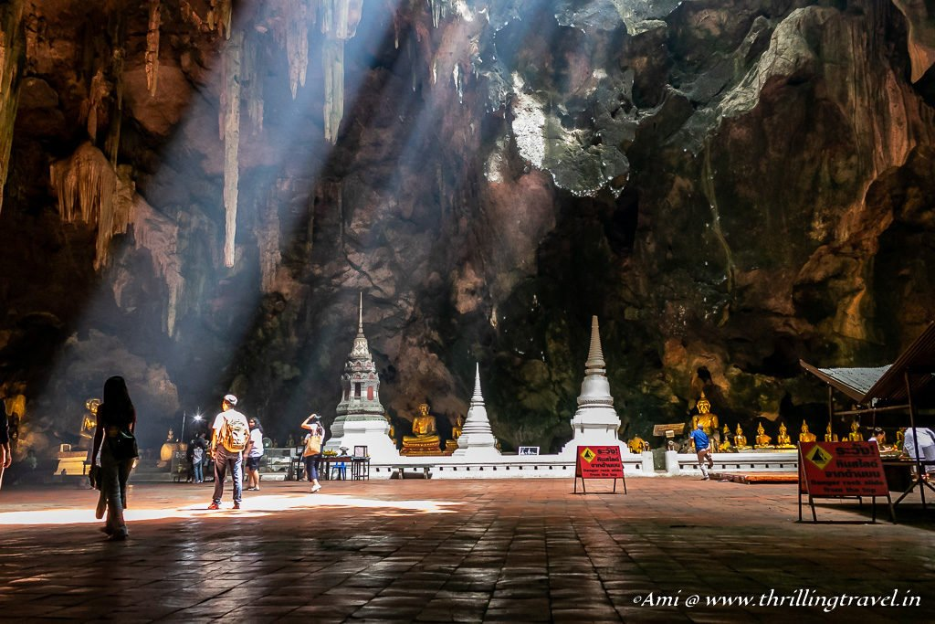 The Chedis and Buddha Statue in Cavern Two of Tham Khao Luang Cave Temple